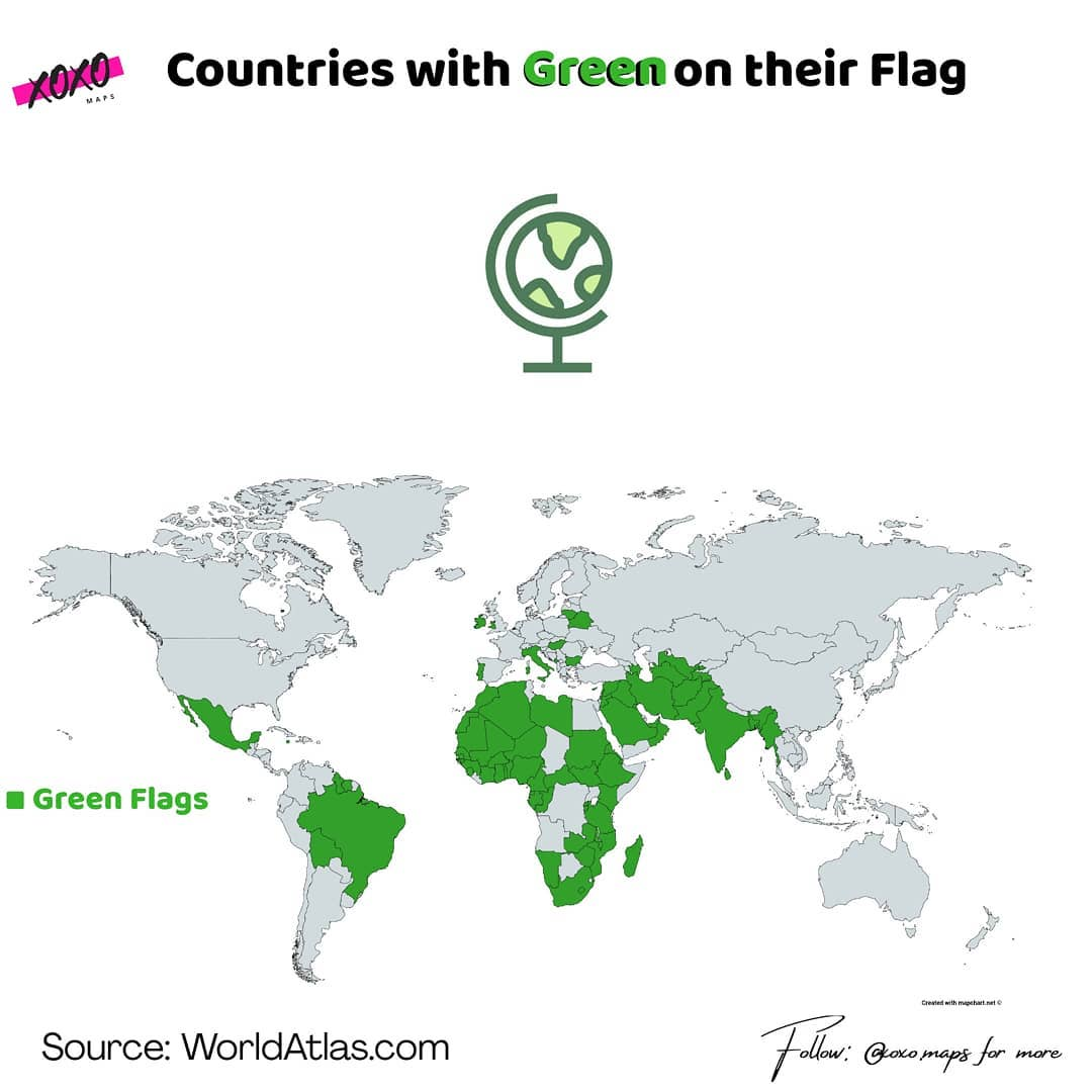 Countries with green colour in their map