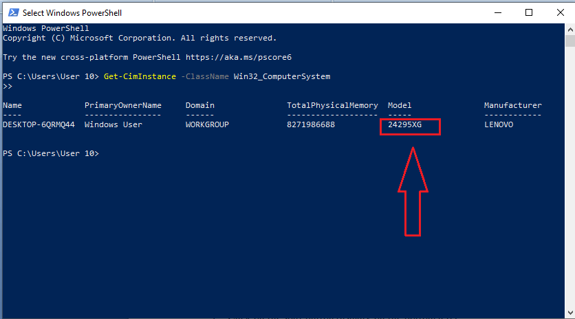 How to check computer model by PowerShell