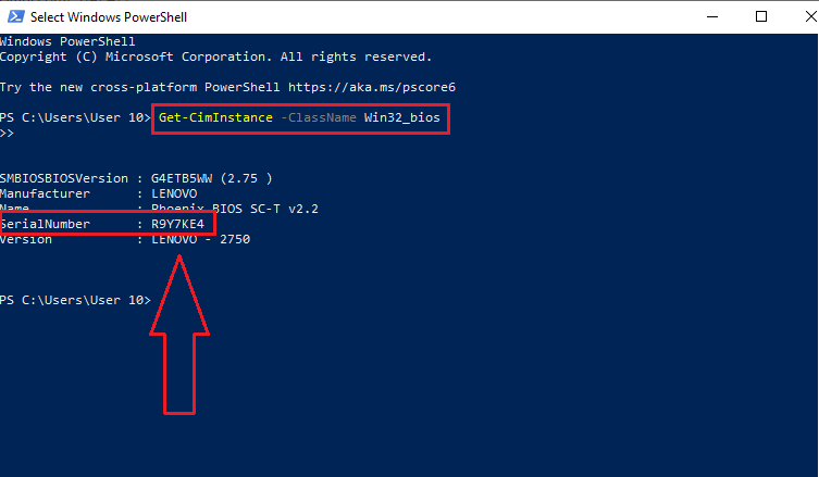 Serial number in power shell