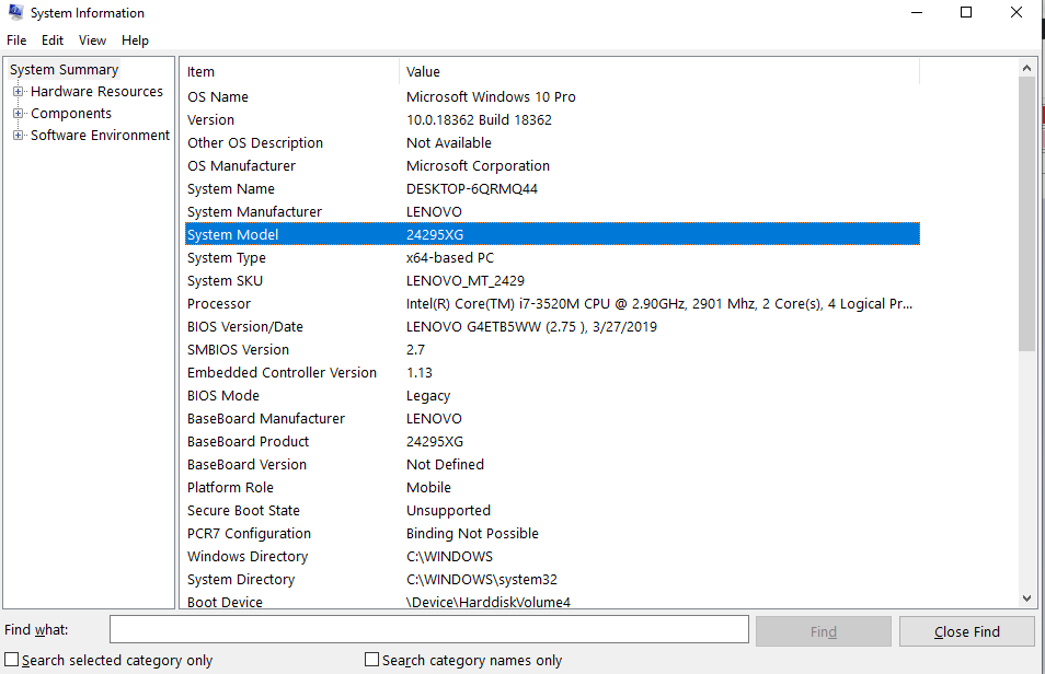 how to check laptop model by system information