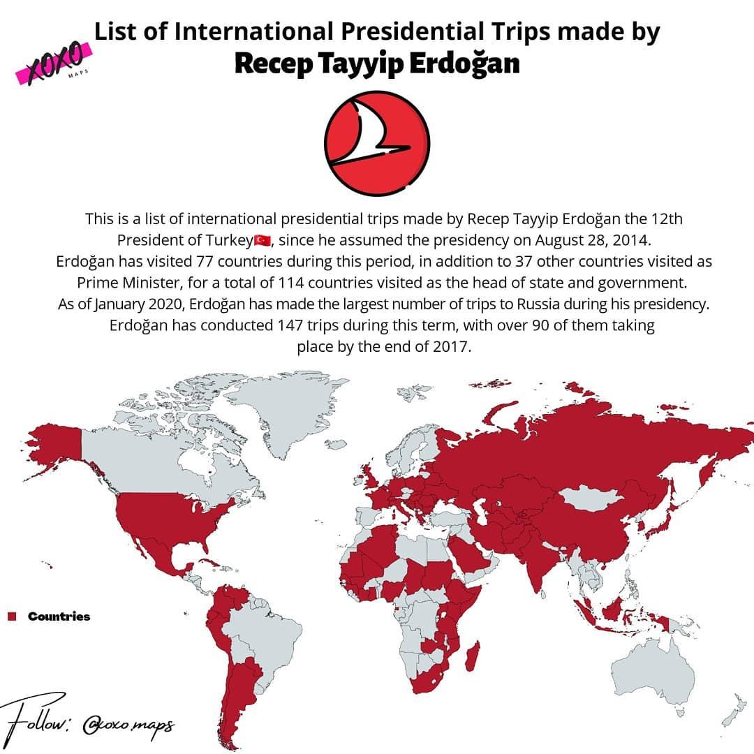 Map International presidential trips made by Turkey's Recep Tayyip Erdoğan